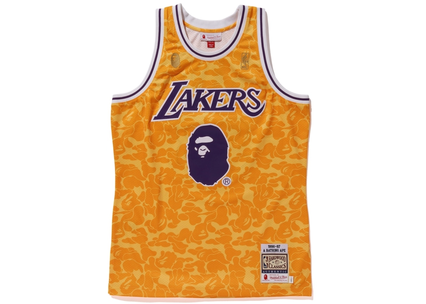 finest selection 3cc04 e8307 BAPE x Mitchell & Ness Lakers ABC Basketball Authentic Jersey Yellow
