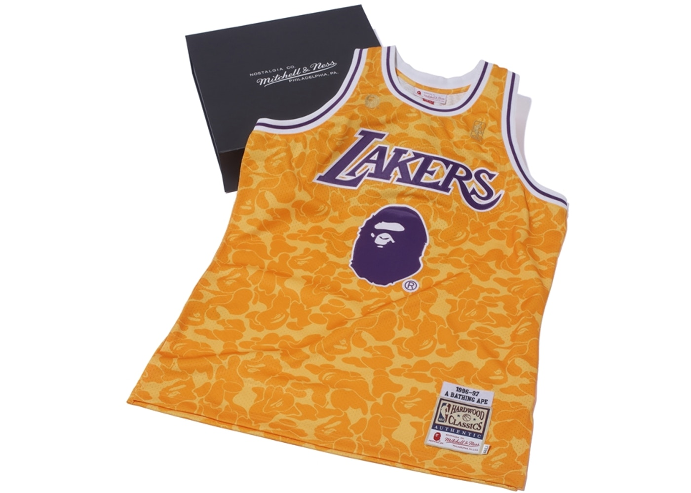6153bedaf2a BAPE x Mitchell & Ness Lakers ABC Basketball Authentic Jersey Yellow