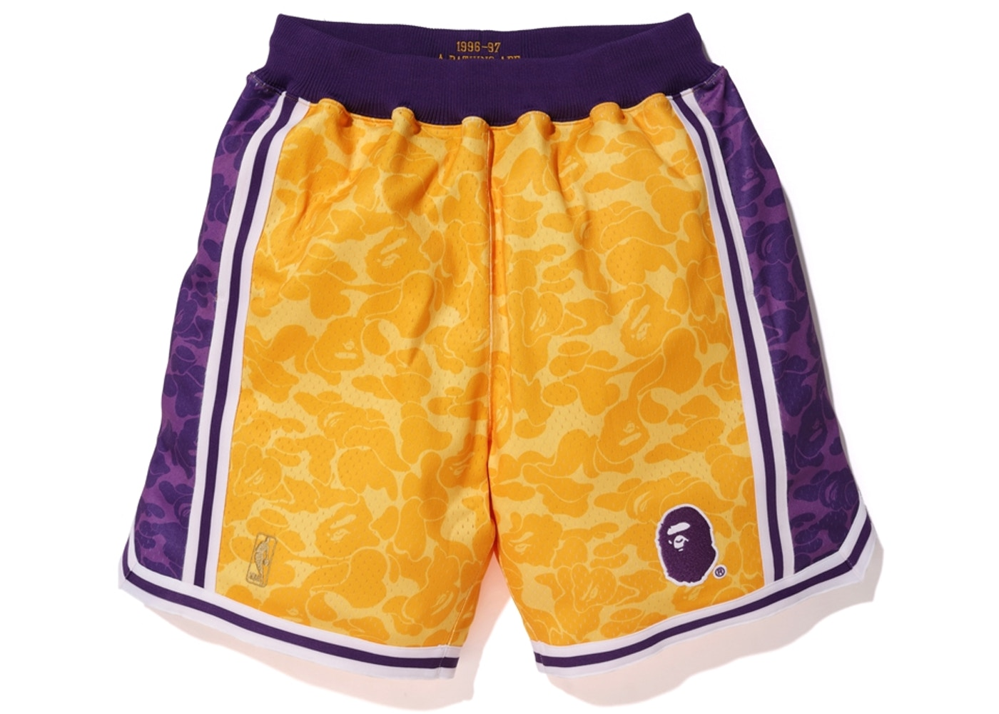 23c6687e5db BAPE x Mitchell & Ness Lakers ABC Basketball Authentic Shorts Yellow