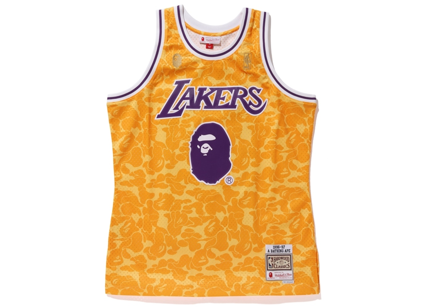 c6bee852 BAPE x Mitchell & Ness Lakers ABC Basketball Swingman Jersey Yellow ...