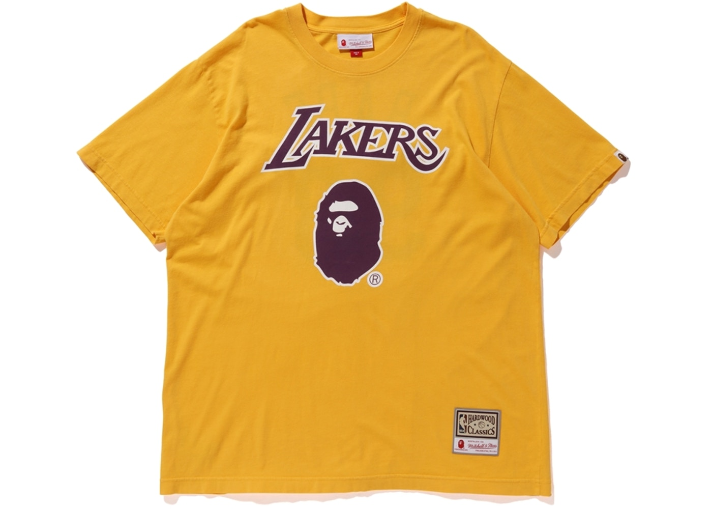 6a19cf32e80 BAPE x Mitchell & Ness Lakers Tee Yellow