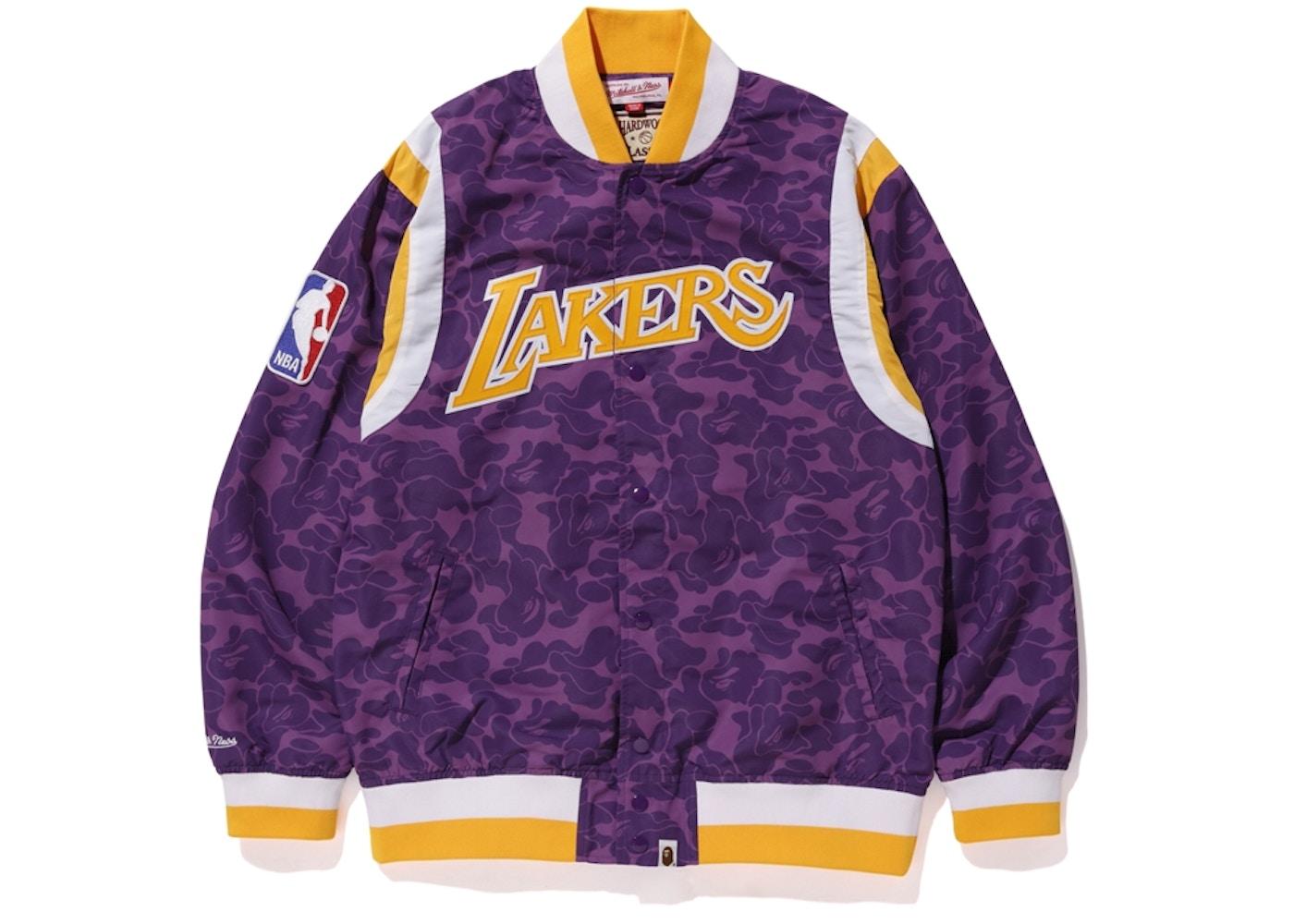 2352ebde Bape x Mitchell & Ness Lakers Warm Up Jacket Purple • Buy/Sell