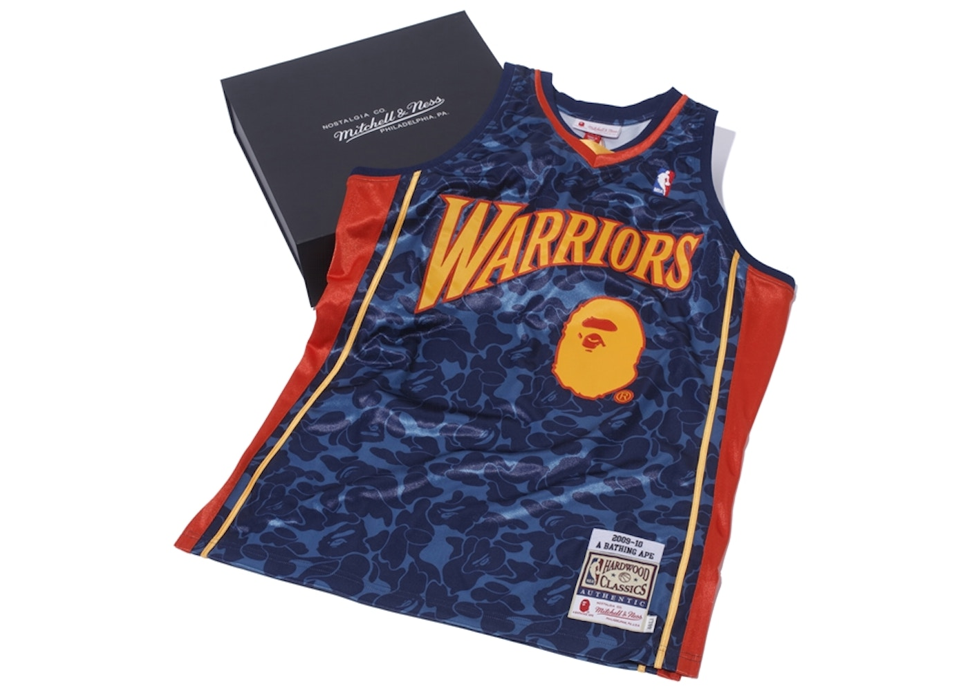 best website 8f1ab 85935 BAPE x Mitchell & Ness Warriors ABC Basketball Authentic Jersey Navy
