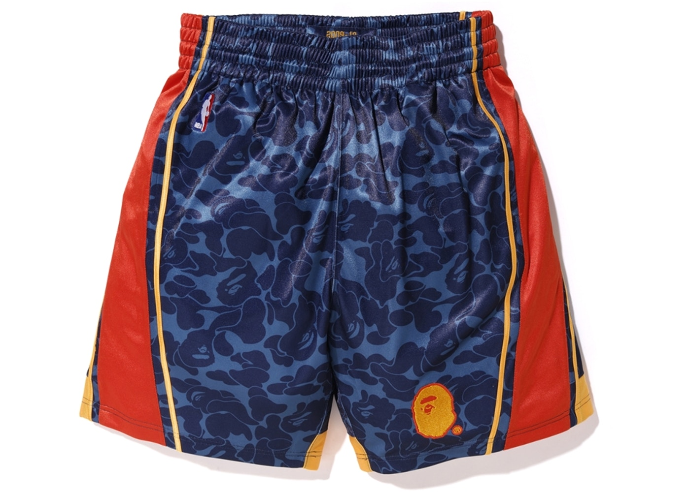 3625caceef7f0 BAPE x Mitchell & Ness Warriors ABC Basketball Authentic Shorts Navy ...