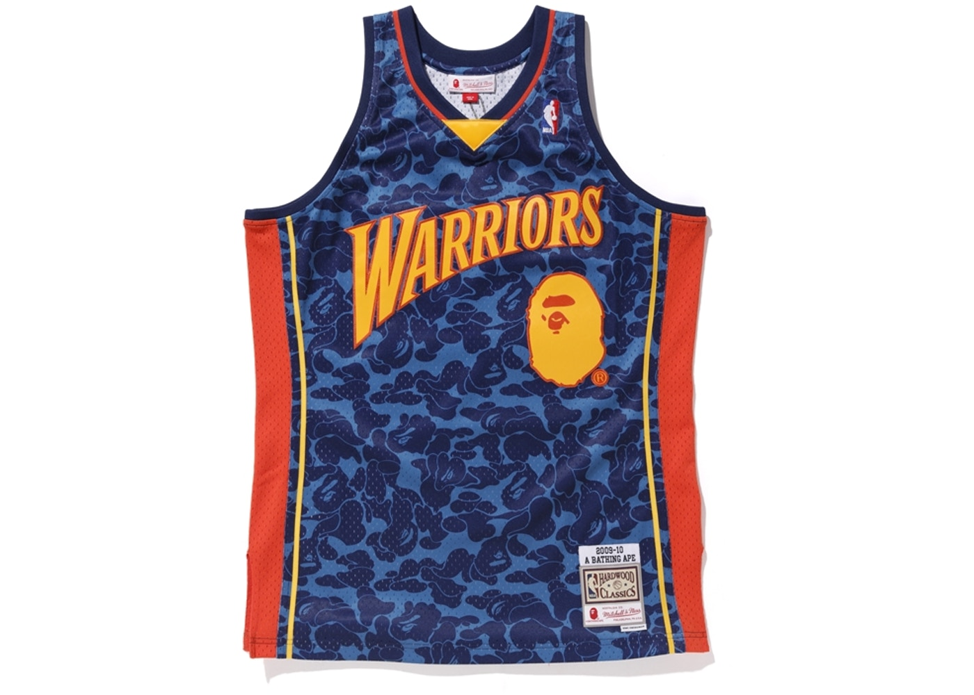 the latest c7d6d 4a50d BAPE x Mitchell & Ness Warriors ABC Basketball Swingman Jersey Navy