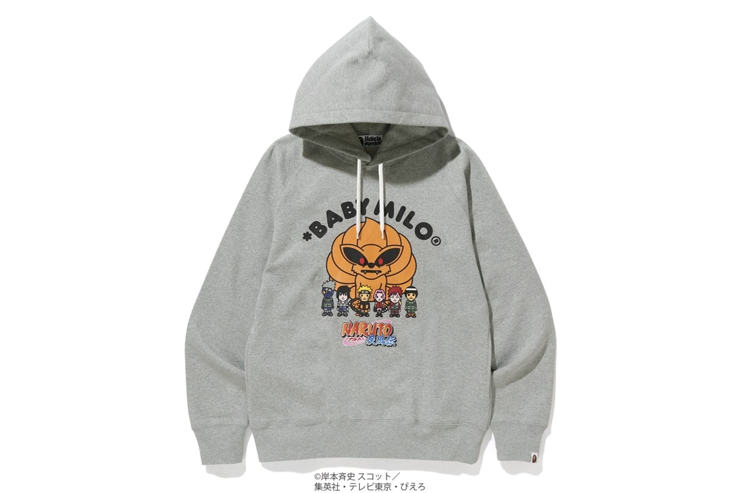 BAPE x Naruto Pullover Hoodie Grey