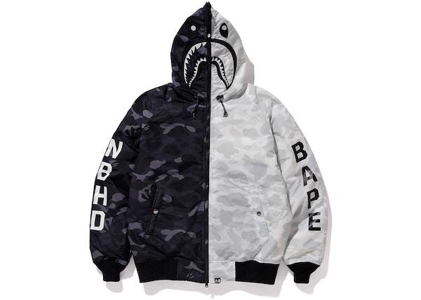384b762d3 BAPE x Neighborhood Down Shark Jacket Black/White