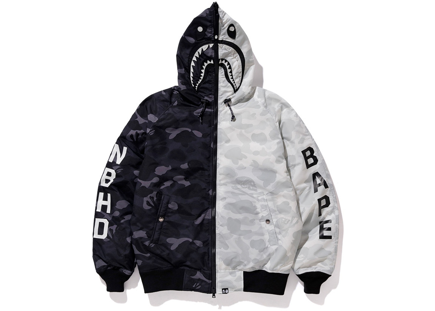 26835bc11458 BAPE x Neighborhood Down Shark Jacket Black White - FW18