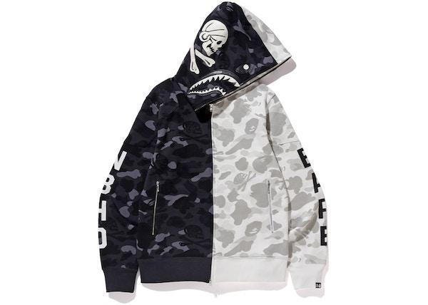 1694c75515ab BAPE x Neighborhood Split Camo Shark Full Zip Hoodie Black White - FW18