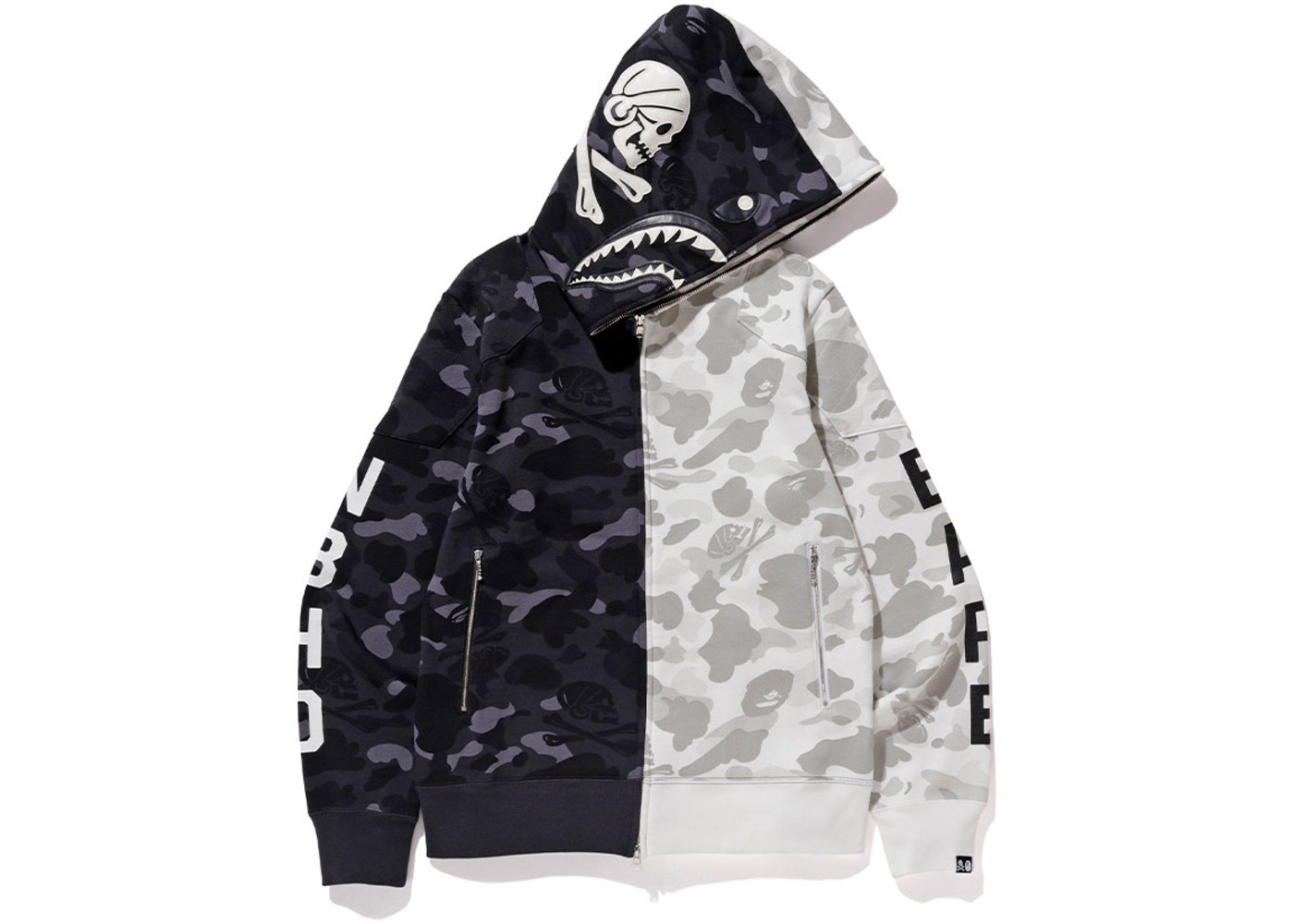 924e81a4 BAPE x Neighborhood Split Camo Shark Full Zip Hoodie Black/White - FW18