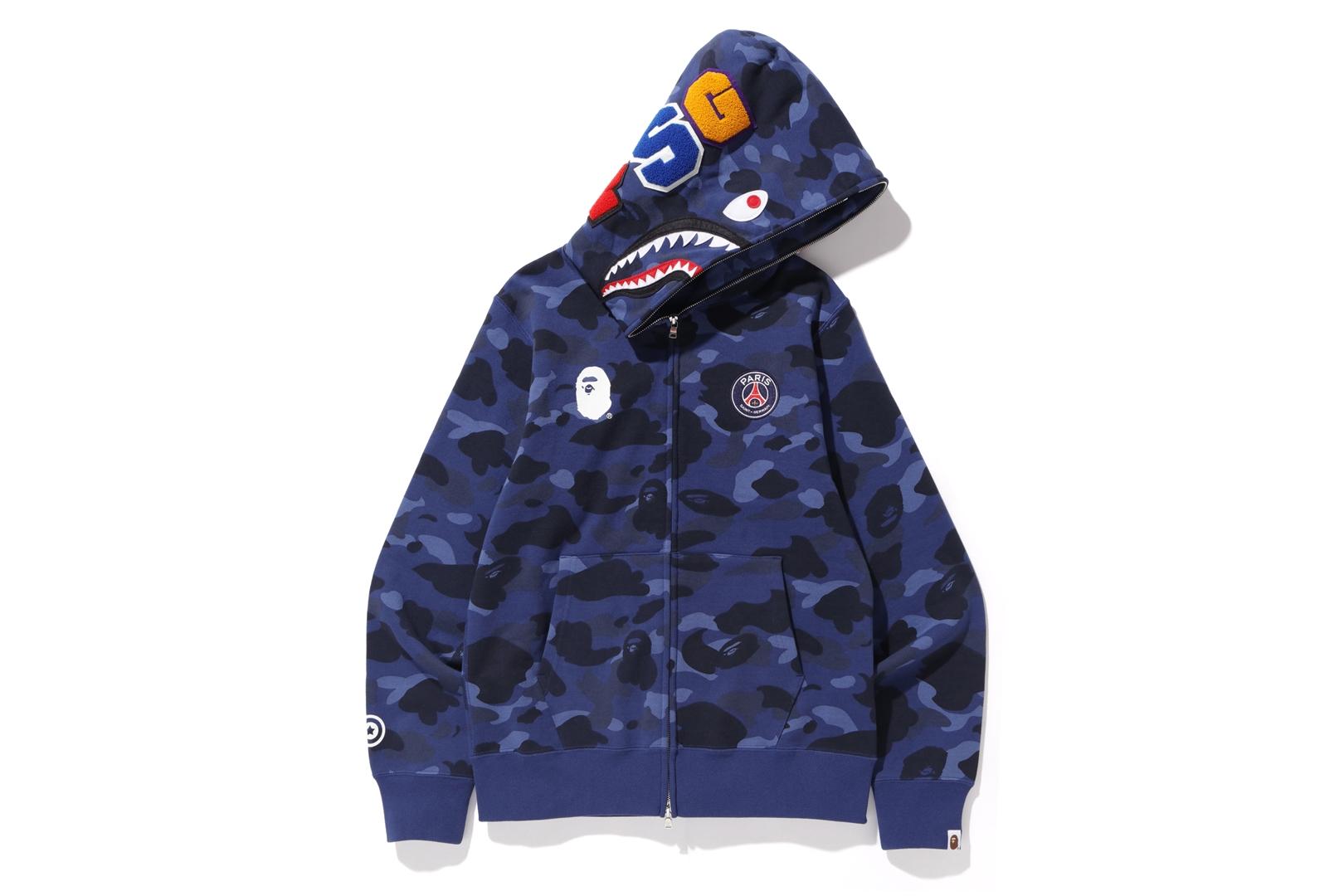 BAPE x PSG Shark Full Zip Hoodie Blue FW18