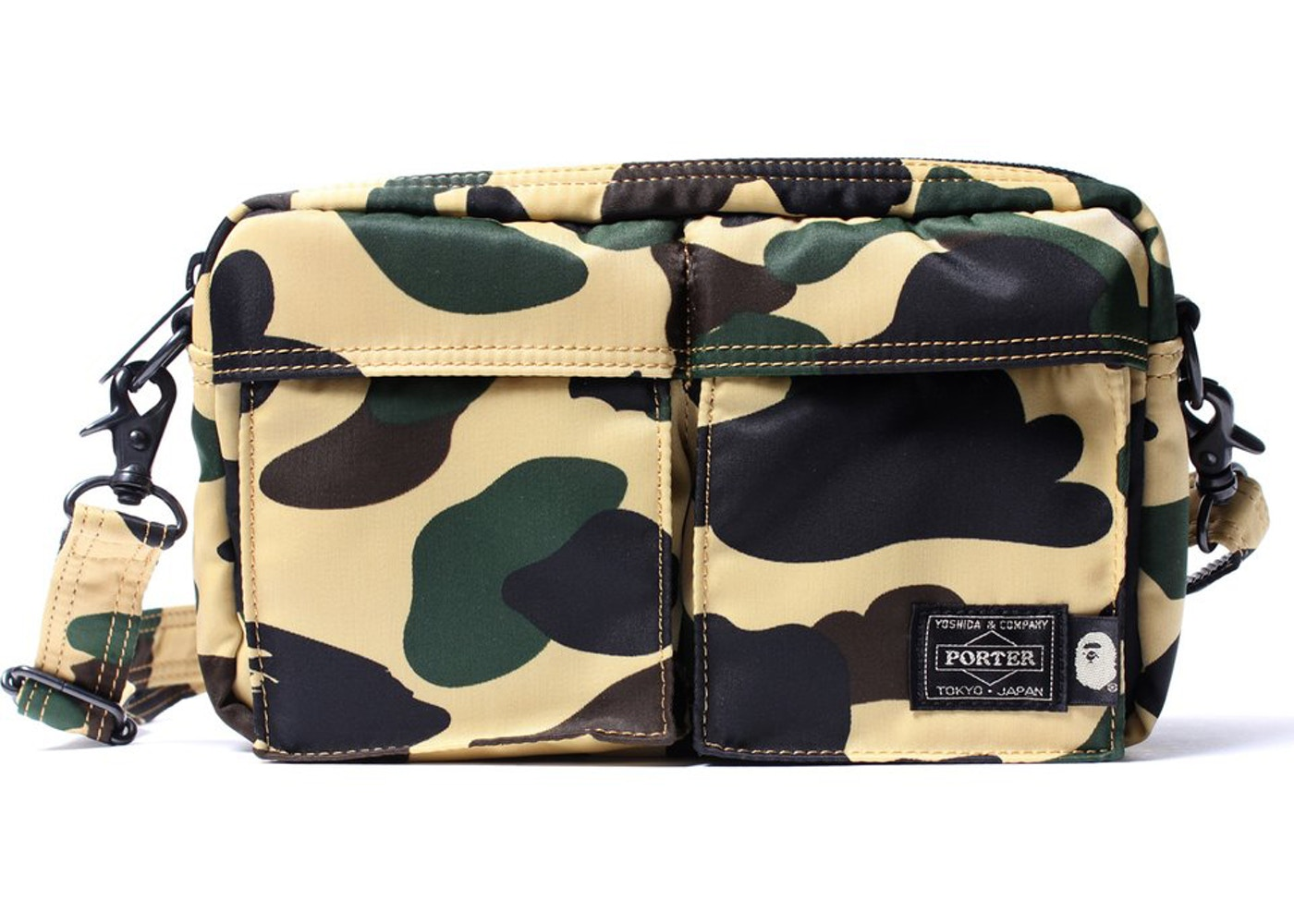 BAPE x Porter 1st Camo Double Pocket Shoulder Bag Yellow - eb32977390034