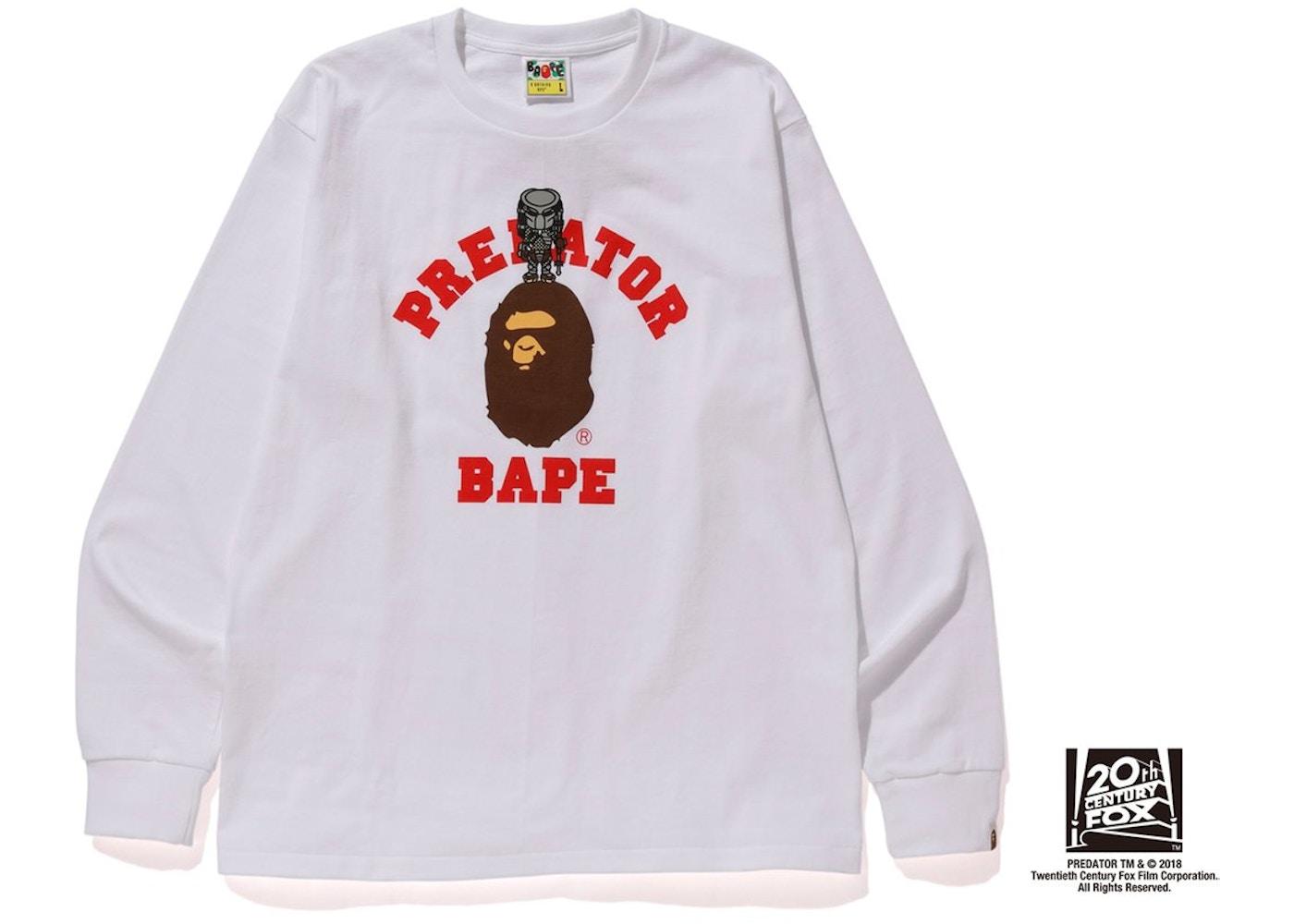 ba65a589 BAPE x Predator College Long Sleeve Tee White - FW18