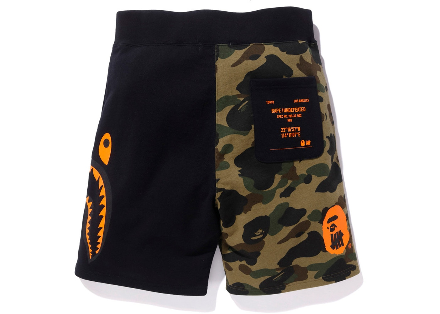 b9d5f920726 BAPE x Undefeated Split Shark Sweat Shorts Black - SS18