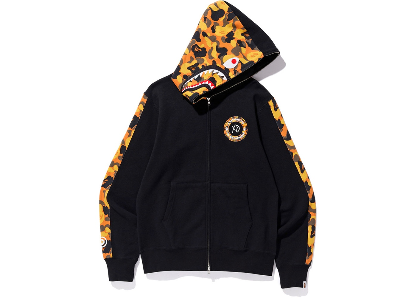 7aa0c2de BAPE x XO Shark Zip Up Hoodie Black. x XO Shark Zip Up