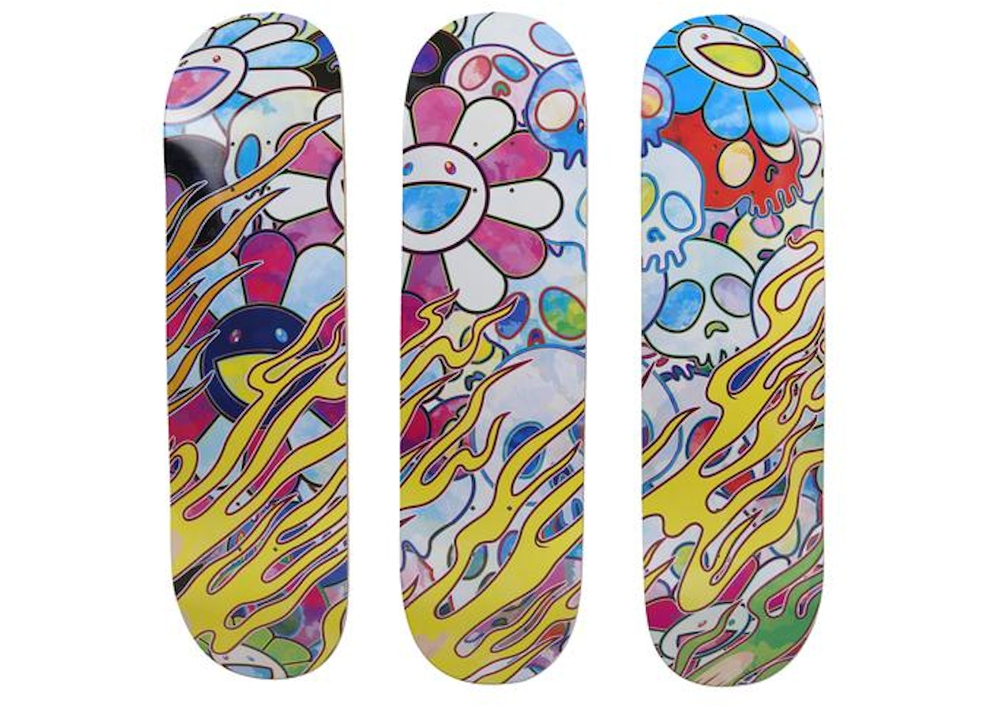 5657615b Sell. or Ask. View All Bids. ComplexCon Takashi Murakami Flaming Skull  Skateboard Deck Set Multicolor