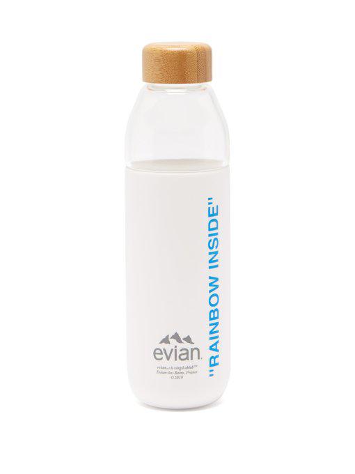 EVIAN BY VIRGIL ABLOH x SOMA Refillable Glass Water Bottle White/Light Blue