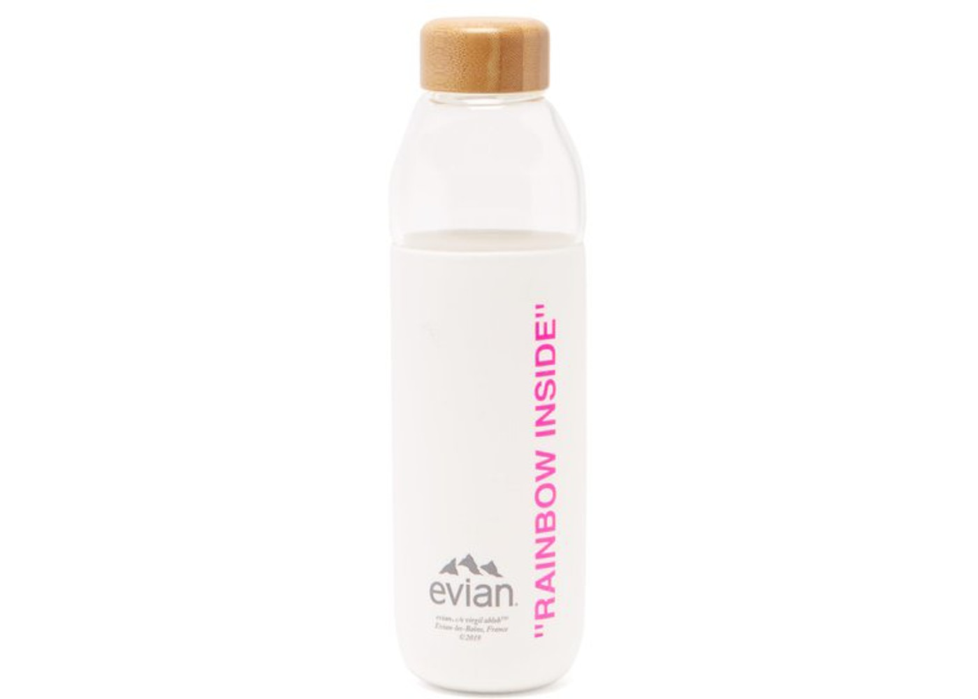 EVIAN BY VIRGIL ABLOH x SOMA Refillable Glass Water Bottle White/Pink