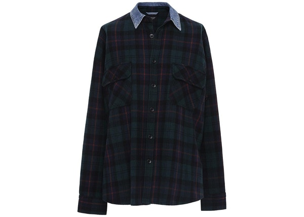 44a6d82312 FEAR OF GOD Denim Collared Flannel Shirt Green Plaid - Fifth Collection