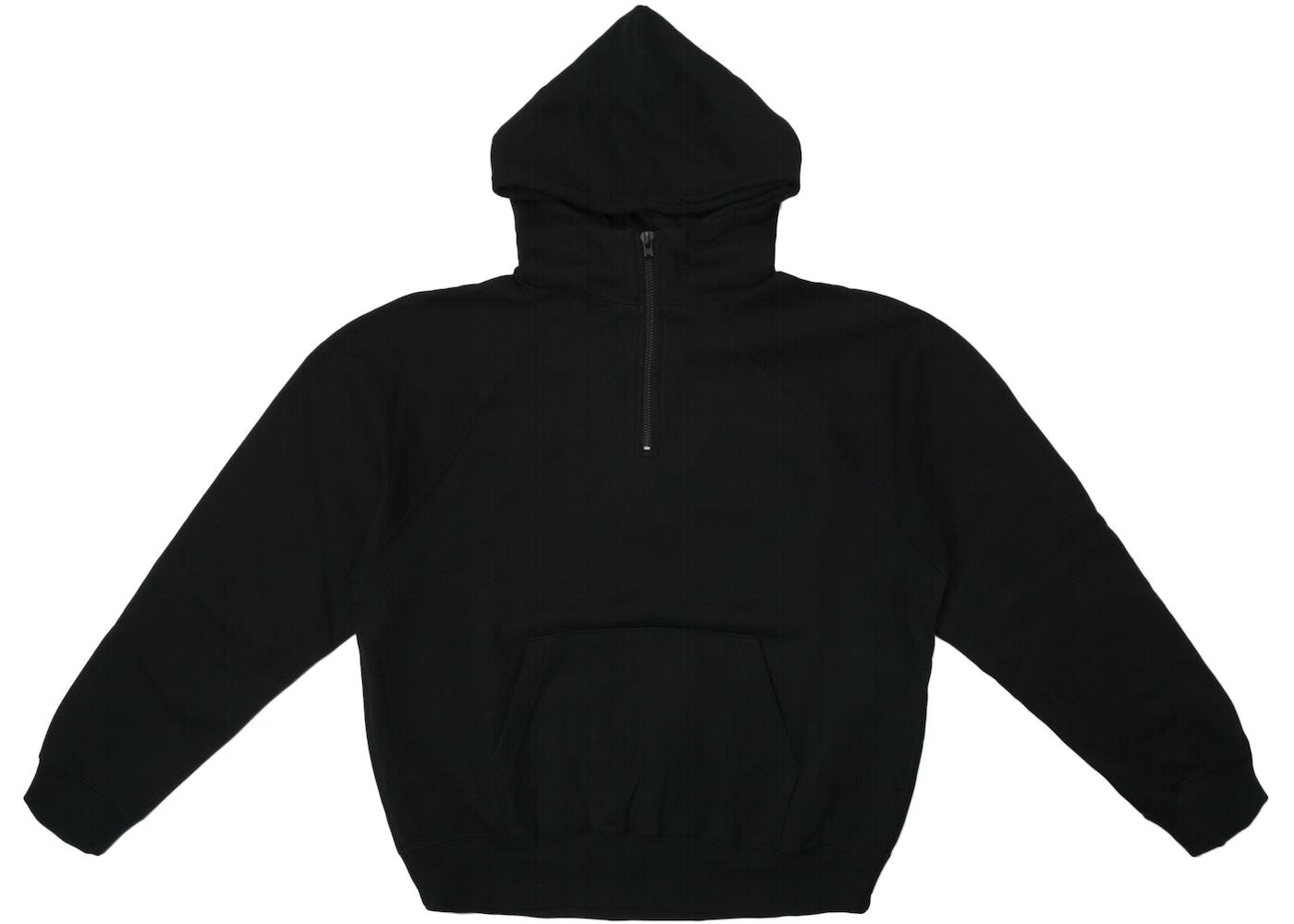 458801ab FEAR OF GOD Essentials Half Zip Pullover Hoodie Black - Essentials