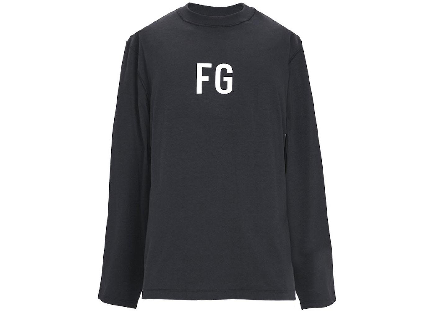 8cbb405e8b49d6 FEAR OF GOD Long Sleeve  FG  T-shirt Vintage Black - Sixth Collection