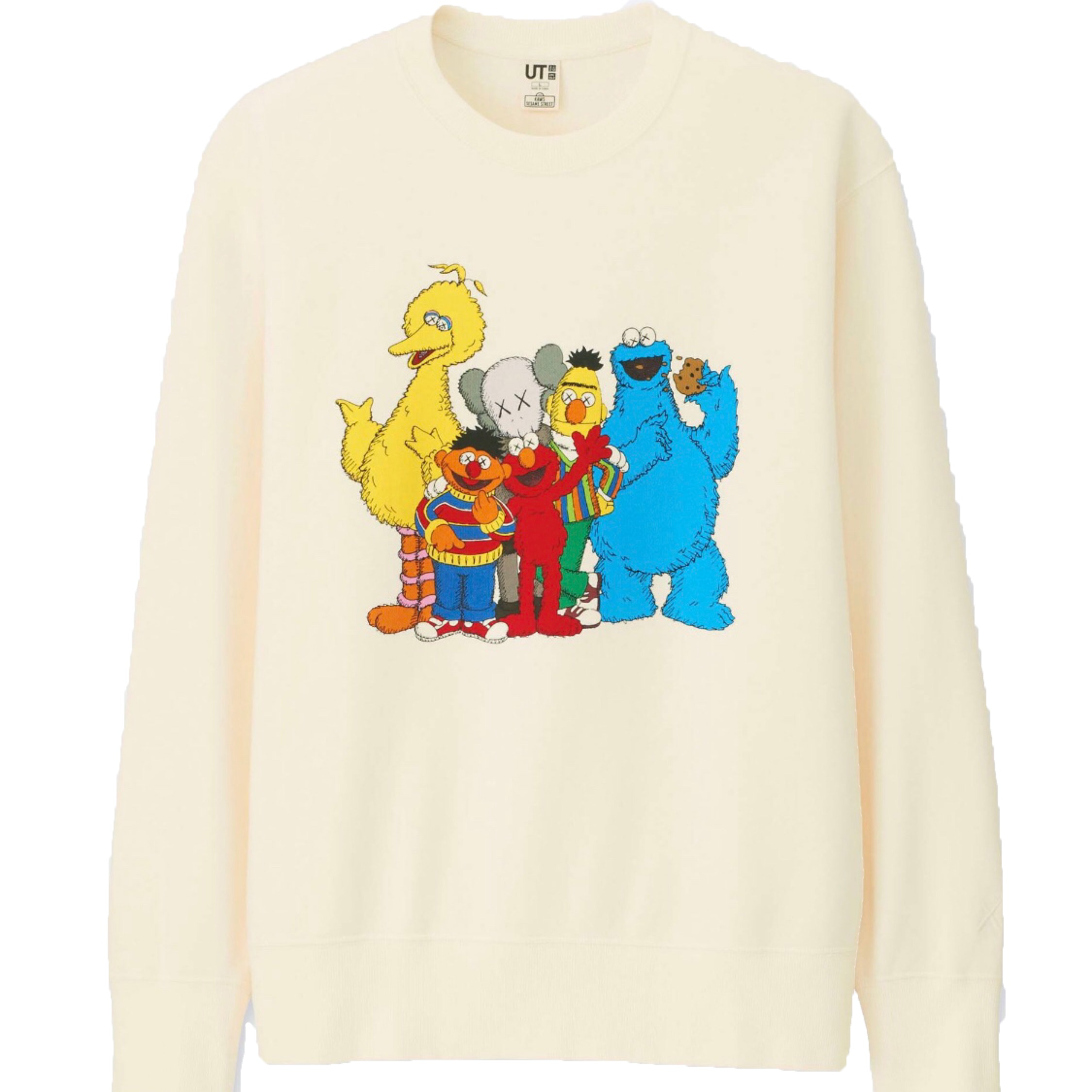 Kaws X Uniqlo X Sesame Street Group #2 Sweatshirt Natural by Stock X