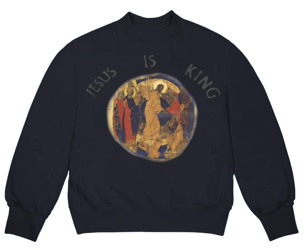 Kanye West Jesus Is King Painting I Crewneck Navy