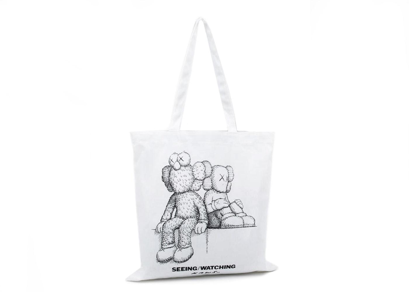 Kaws Seeing/Watching Sketch Tote Bag White