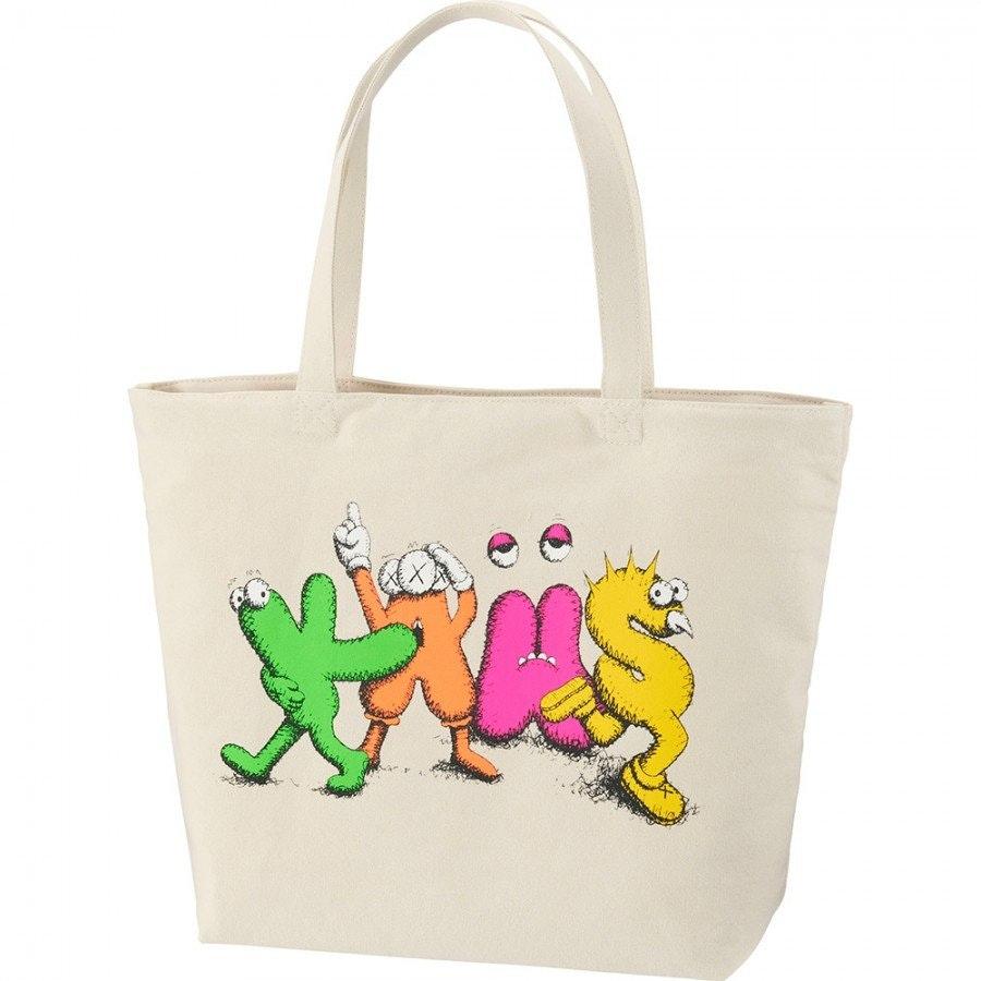 Kaws x Uniqlo Logo Tote Bag Beige
