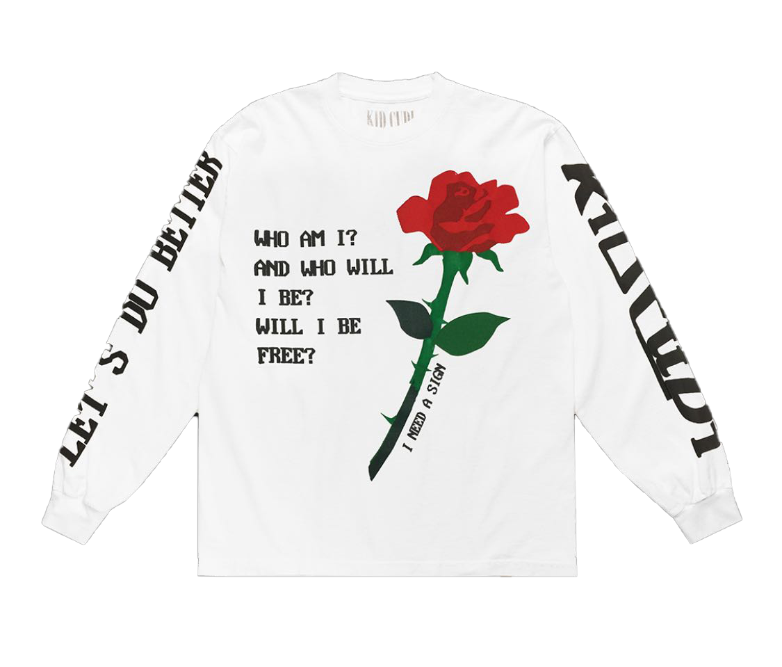 Kid Cudi Rose L/S Tee White by Stock X