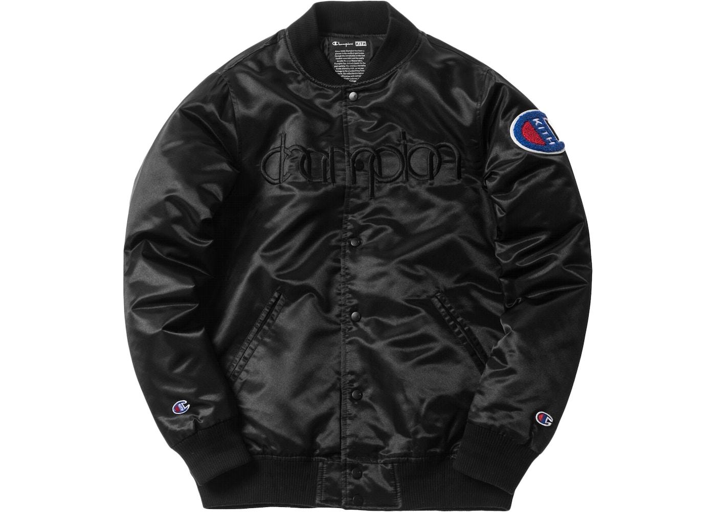 2e28518f Kith Champion Baseball Jacket Black - SS18