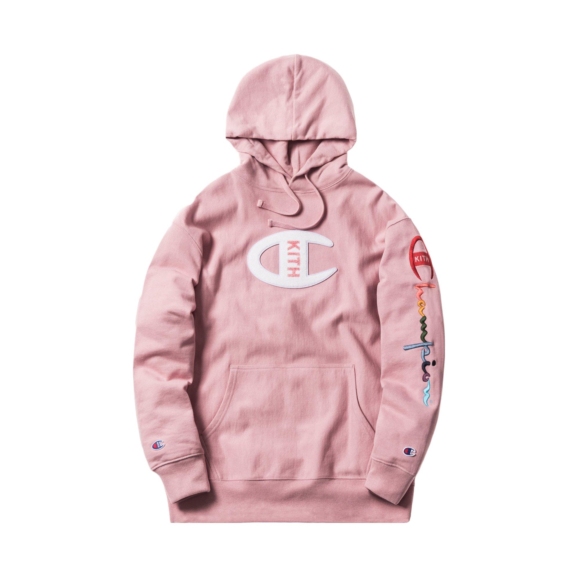 Kith Champion Logo Hoodie Pink