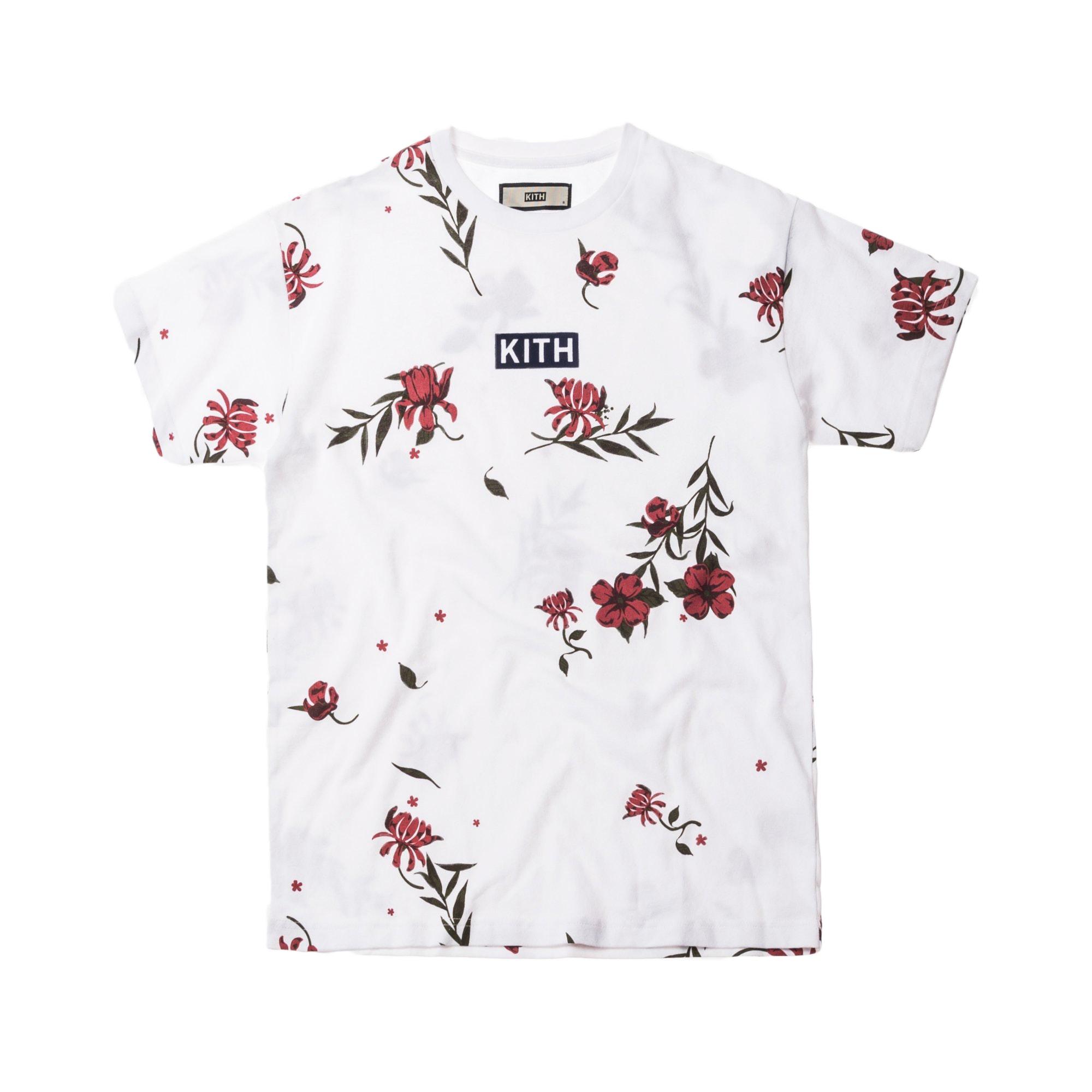 Kith Floral Classic Logo Tee White