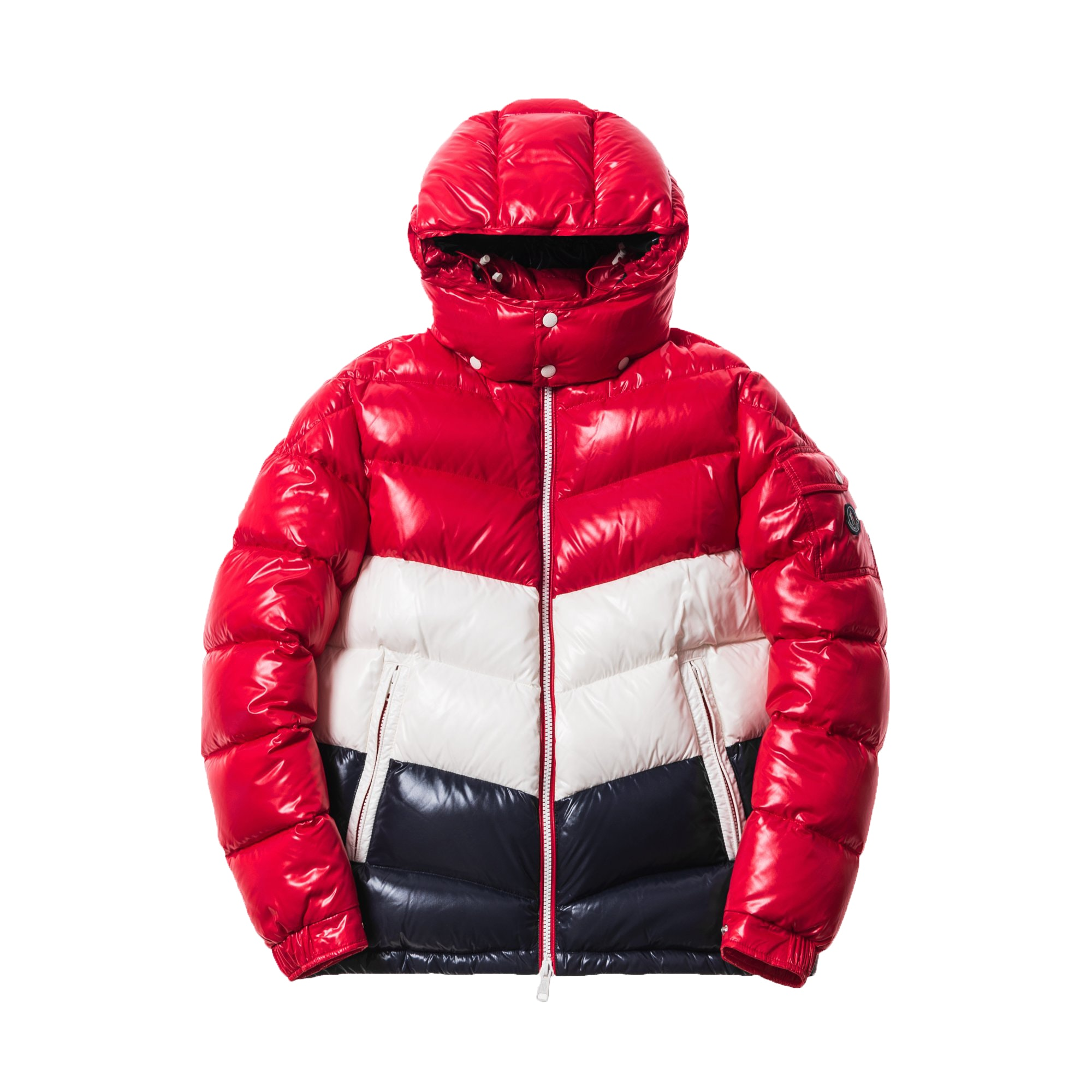 Kith Moncler Rochebrune Classic Down Jacket Red/White/Navy