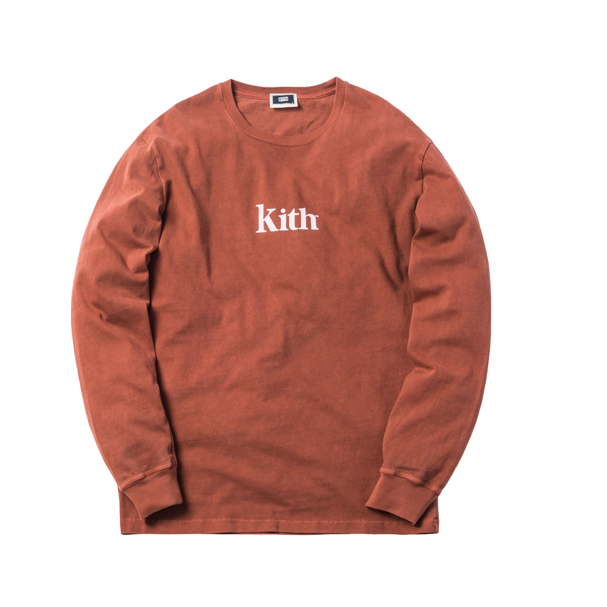 Kith Pigment Dyed Serif Logo L/S Tee Baked Clay