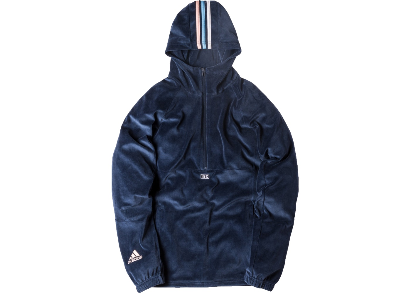 on sale f302c 7a74d Kith adidas Soccer Flamingos Velour Half Zip Hoodie Navy