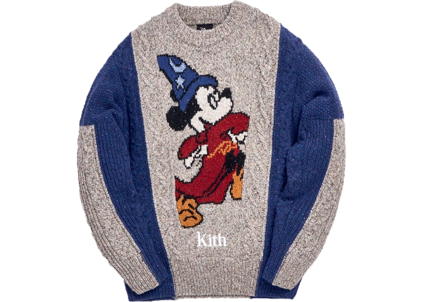 Kith X Disney 40s Ryan Cable Knit Sweater Navy by Stock X