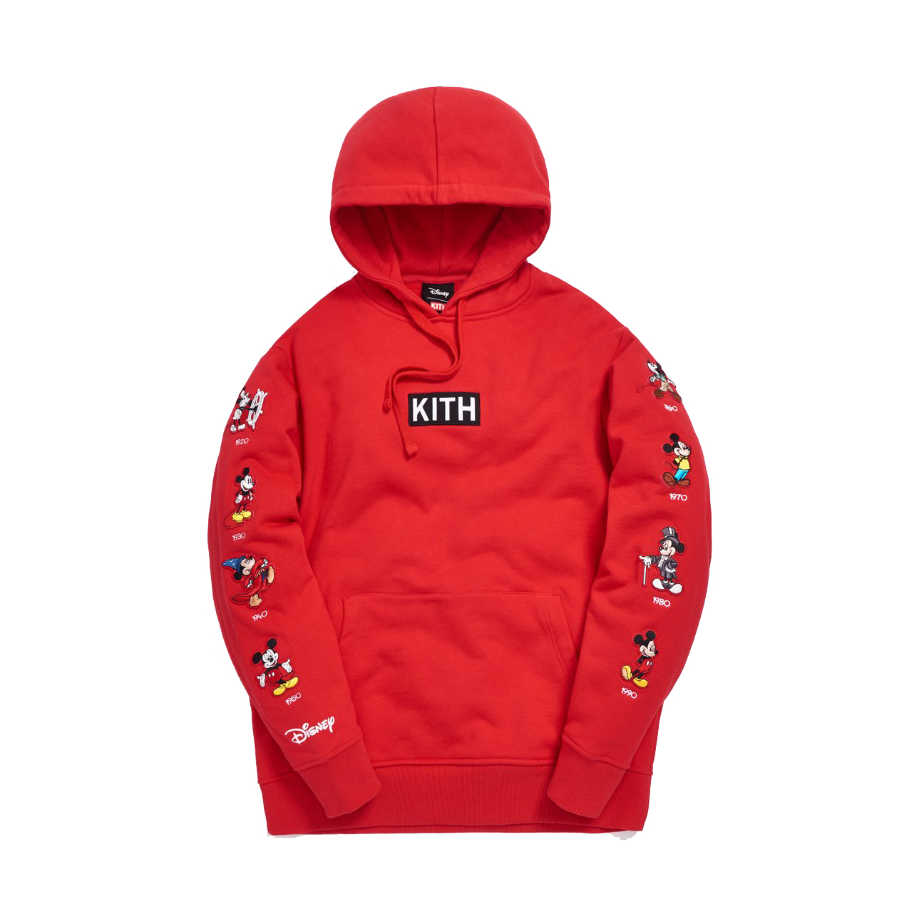 Kith x Disney Mickey Sleeve Patches Hoodie Red