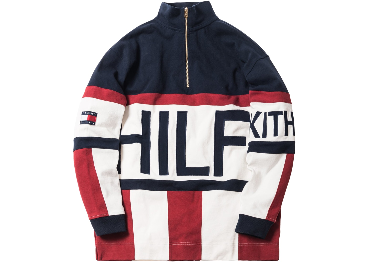 Kith X Tommy Hilfiger Color Block Logo Quarter Zip Navy
