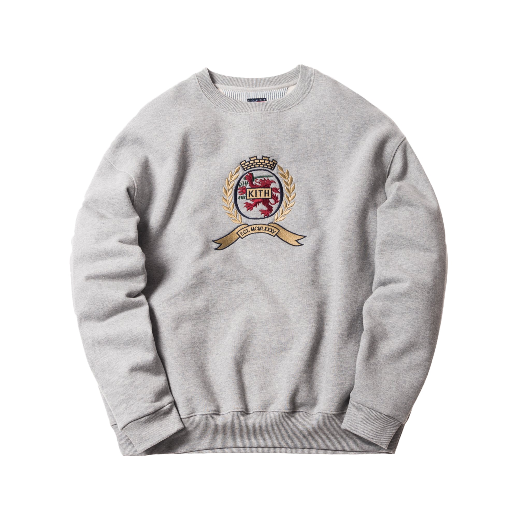Kith X Tommy Hilfiger Crest Crewneck Grey by Stock X