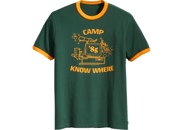 a845bc98e4f8eb Levis x Stranger Things Camp Know Where Ringer Tee Dark Green