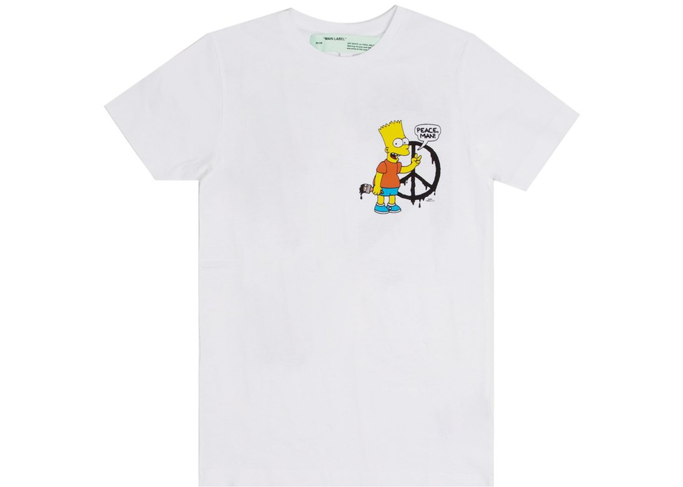 4ee6ac57d4d OFF-WHITE Bart Peace T-Shirt White. Bart Peace