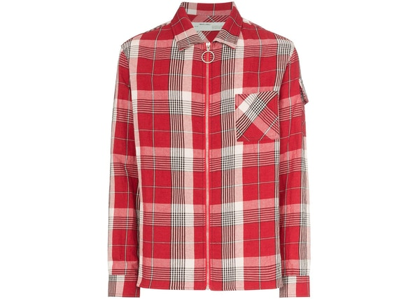 2c71825b OFF-WHITE Checkered Zip Up Skulls Flannel Shirt Red/Multicolor