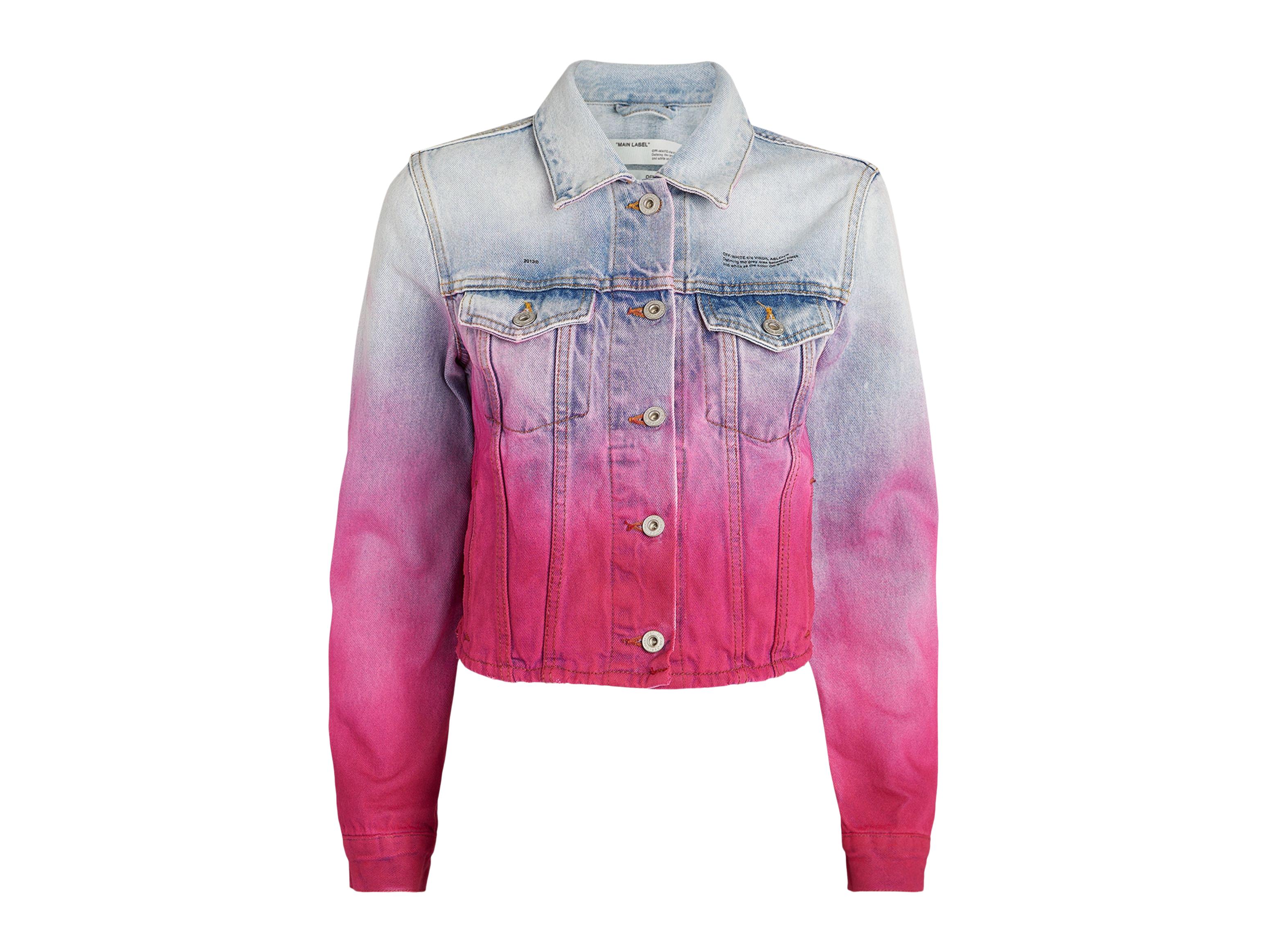 off white rose denim jacket