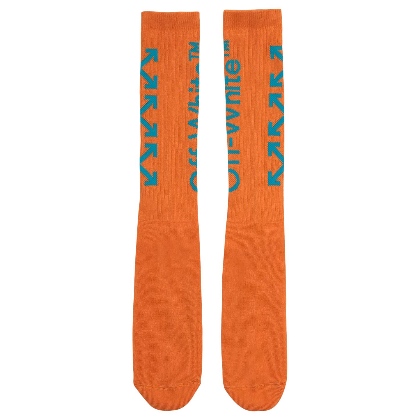 Pre-owned Off-white  Diag Mid Socks Orange/light Blue