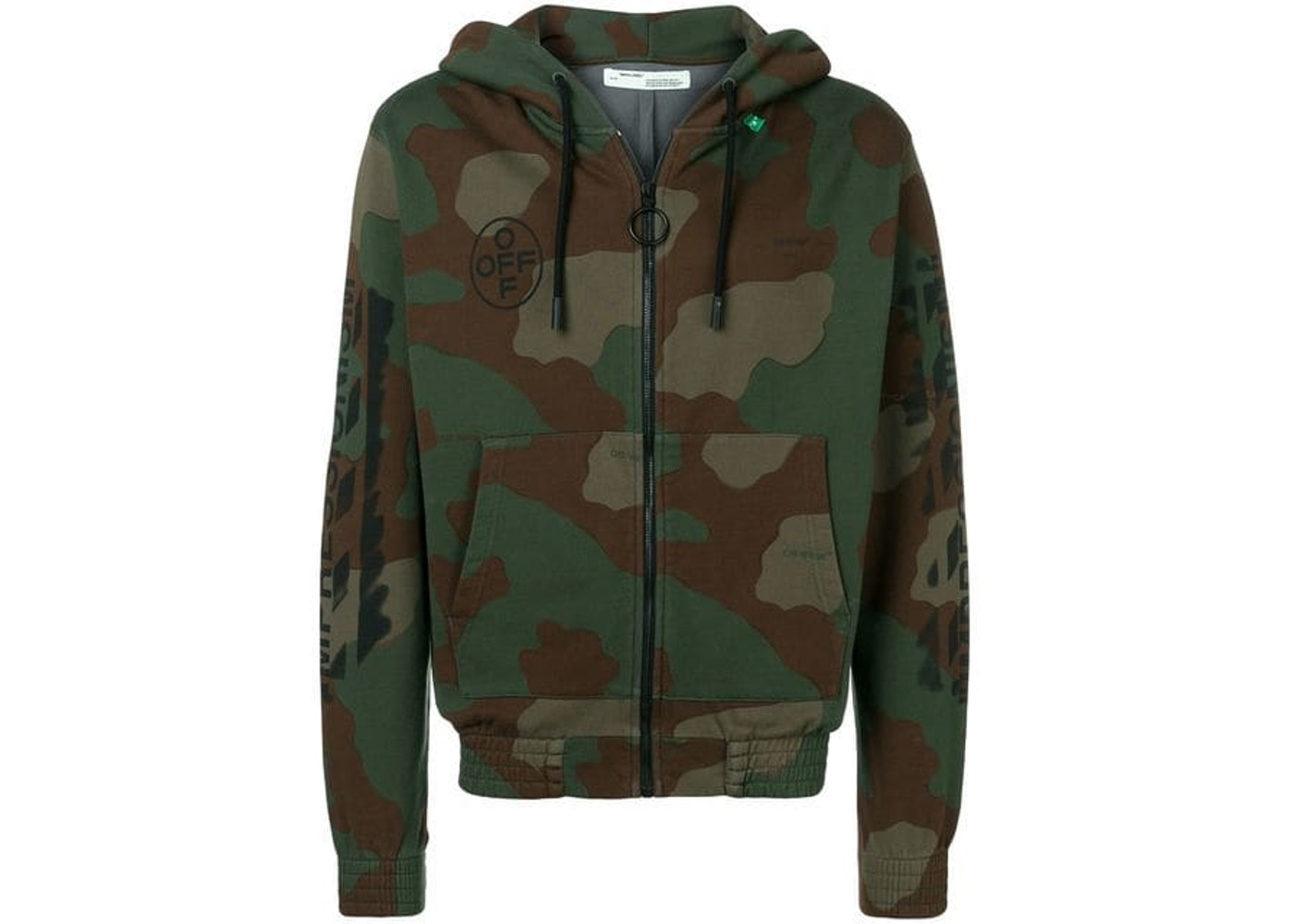 low cost fc2dd 43b25 OFF-WHITE Diag Stencil Zip Up Hoodie Camo/Black