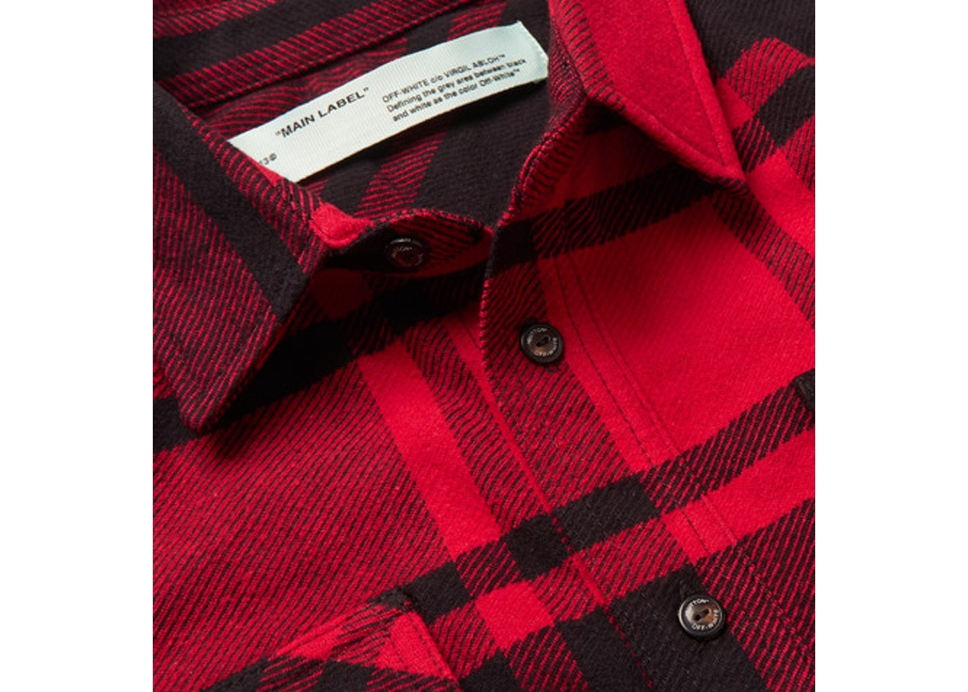 a849688f OFF-WHITE Embellished Checkered Flannel Shirt Black/Red/White - SS19