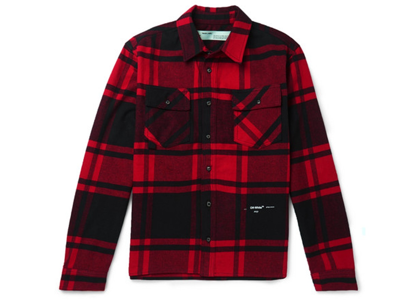 4647a840 OFF-WHITE Embellished Checkered Flannel Shirt Black/Red/White. Embellished  Checkered Flannel