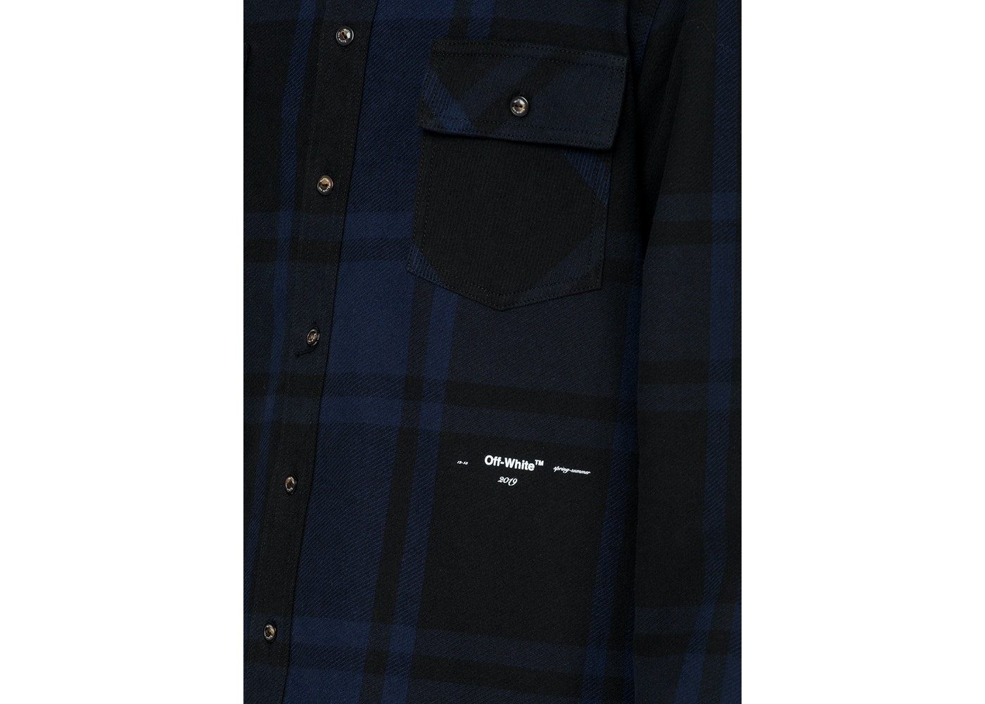 dbf59143 OFF-WHITE Embellished Checkered Flannel Shirt Blue/Black - SS19