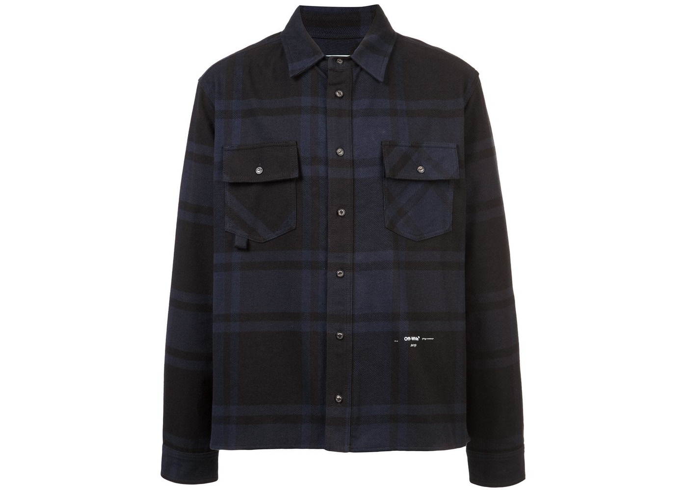 10d57e03 OFF-WHITE Embellished Checkered Flannel Shirt Blue/Black. Embellished  Checkered Flannel